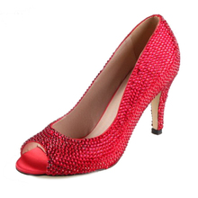 Handmade full red rhinestone diamond covered open toe woman sparkling pumps wedding party prom banquet evening dress shoes heels