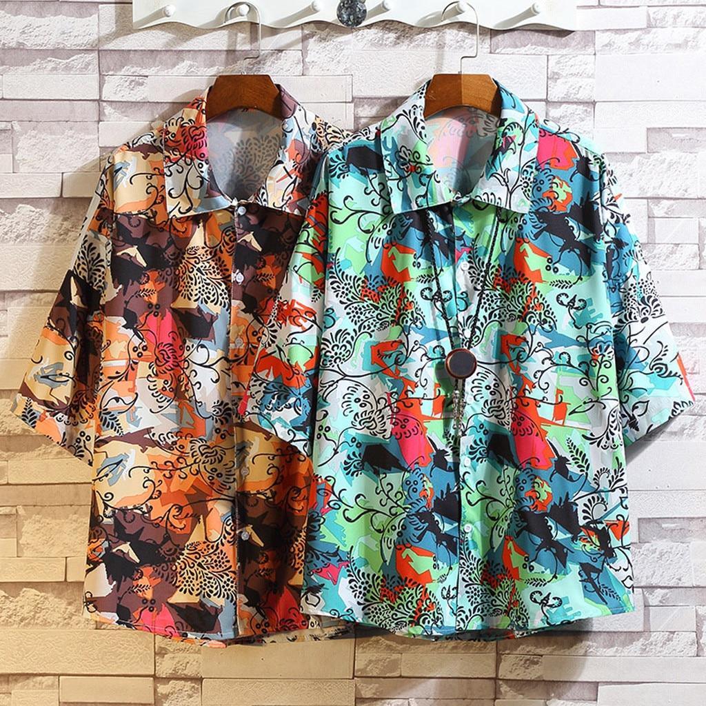 Рубашка мужская уличный с короткими рукавами рубашка мужская повседневная печать Свободная рубашка с коротким рукавом рубашка с отворотом...