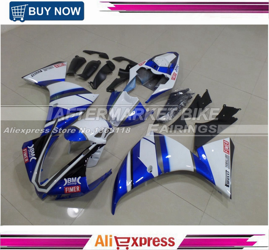 Injection Full Fairings For Yamaha YZF R1 12 13 14 YZF-R1 2012 2013 2014 ABS Plastic Motorcycle Fairing Kit Cowling Blue & White tamiya 1 12 yamaha motorcycle model yzr m1