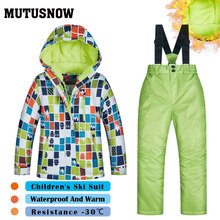 Ski Suit Boys Brands High Quality Windproof Waterproof Snow Super Warm Jacket+Pants Child Winter Snowboard Suit Children's LGG