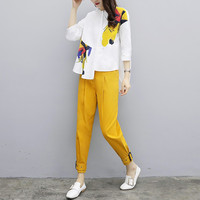 Large Size Two Piece Set Women Casual Floral Print Irregular White Blouses Tops Yellow Pants 2019 Fashion Tracksuit Woman Suit