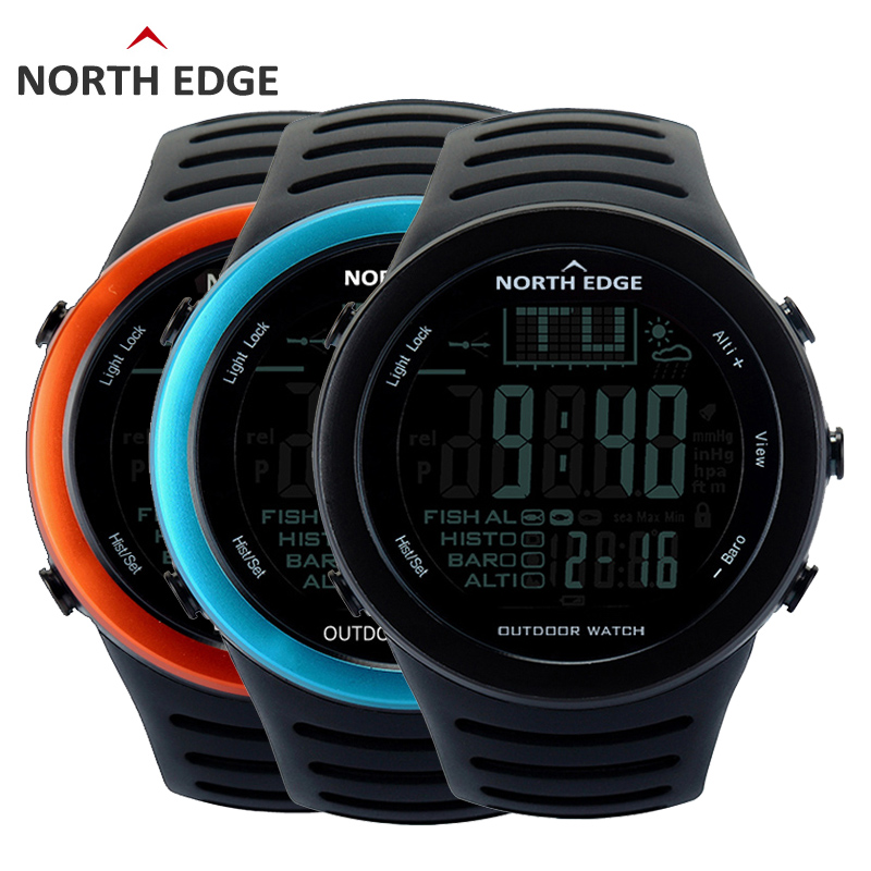 NORTHEDGE Men Digital watches outdoor watch clock Fishing weather Altimeter Barometer Thermometer