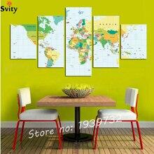 5 piezas Vintage mapa del mundo imagen impresa en lienzo hogar Decoración arte pared pintura para sala de estar F1681 sin marco