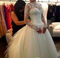 ZJ9006 Vestidos De Novia 2016 Lace Manga Comprida Do Vestido de Casamento vestido de Baile de Casamento Vestidos de Casamento 2016 Robe De Mariage Mariee vestidos