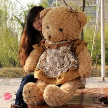 huge lovely brown teddy bear toy plush flower skirt teddy bear doll gift about 120cm