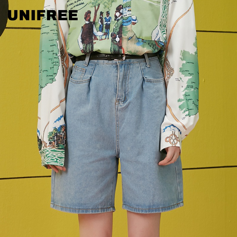 UNIFREE Denim Shorts Female Tide Korean Style Loose High Waist Was Thin Outside Wearing Wild Pants UEE192P012