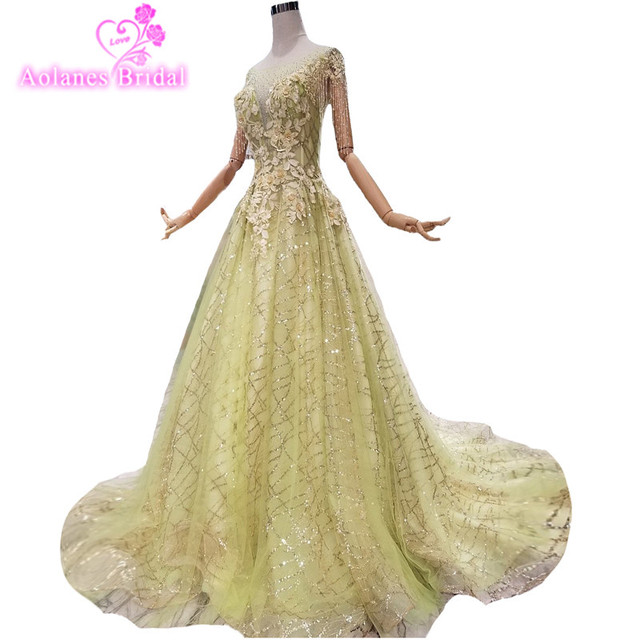 2018 Light Green Lace Scoop Court Train Ball Gown Party Prom Dress  Sleeveless Floor-length Cap Sleeve Illusion Evening Dresses 5ac856d2ee71