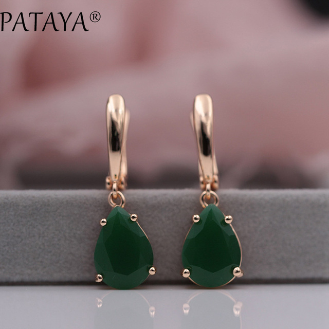 PATAYA RU Hot Sale Green Water Drop Natural Zircon Earrings 585 Rose Gold Long E