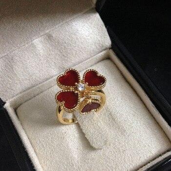 Anillo de flor roja de moda para las mujeres