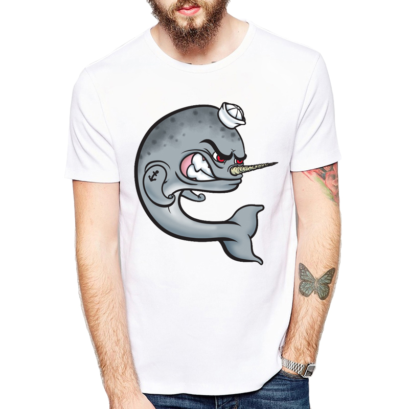 Angry Narwhal T-Shirts O-Neck Short Sleeve Tops Modal White Tees Summer Latest Brand Fish T Shirt Fashion Personality Men