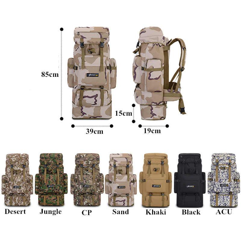 85L Luar Ruangan Besar Taktis Militer Tas Ransel Mountaineering Pria Perjalanan Olahraga Luar Ruangan Tas Molle Berburu Berkemah Ransel