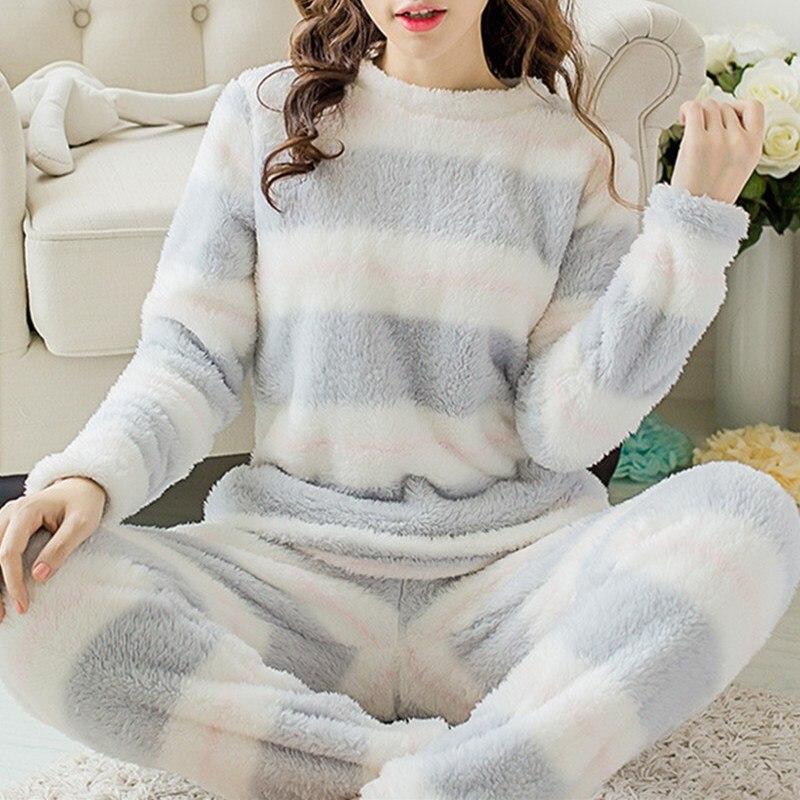 Women Pajamas Girls Sleepwear Sets Winter Warm Robe Pyjamas Thick Striped Cute Velvet Fleece Pijamas Soft Christmas Flannel 2017