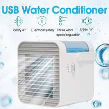 USB Mini Air Conditioner Desktop Cooling Fan Portable Air Conditioner Air Cooler Lampu LED Tenang Air Conditioner Fan Rumah Kantor(China)