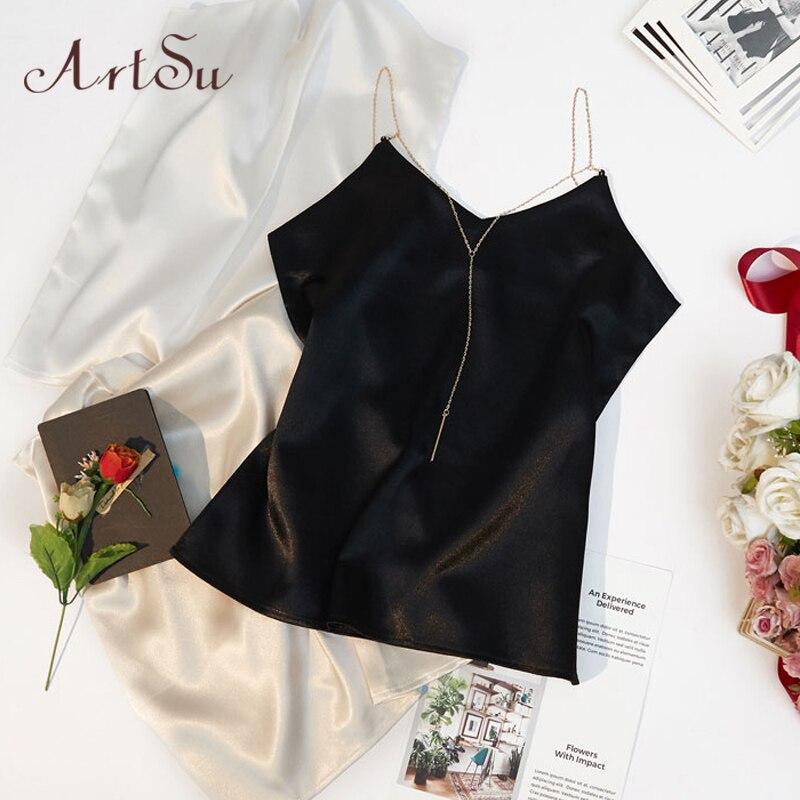 Image 4 - ArtSu/летний топ на цепочке, модный, без рукавов, пляжный, черный, белый, сатиновый Топ, сексуальная одежда, топ для фитнеса, Mujer ASVE20220-in Кроп-топы from Женская одежда on AliExpress