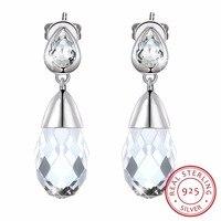 Lekani Crystals From Swarovski Wedding Jewelry Real S925 Silver Water Drop Earrings For Women Party Fashion Piercing Joyas