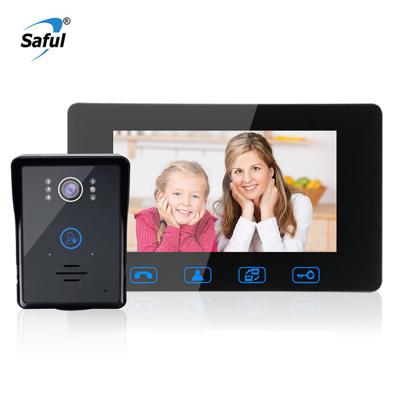 Saful 7TFT LCD Video Door Phone Intercom Waterproof video Doorbell System free disturb handsfree Home Security night vision 7tft lcd free disturb wired audio video door intercom system with night vision monitor doorbell for 10 apartments of 1 building