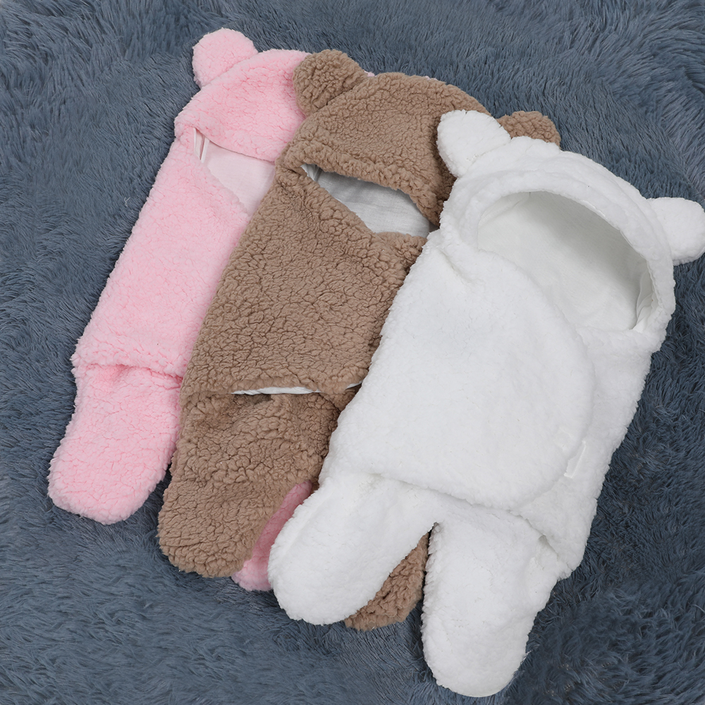 0 6 Months Autumn Baby Sleeping Bag Envelope For Newborn Baby Winter Swaddle Blanket Wrap Cute Sleeping Bags Solid Baby Bedding