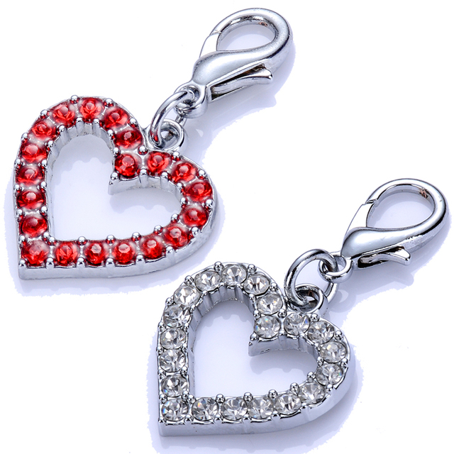 Wholesale Dog Collar Charms Rhinestone Jewelry Pendant Tag Accessories Pet Necklace Charms Mixed Red Sliver Color