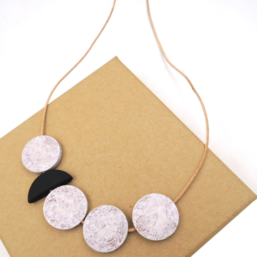 ASYMMETRIC disk geometric wood necklace pandant minimalist statement PALE half moon abstract blue CHEAP LIGHT WEIGHT NW160