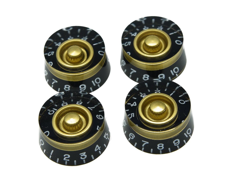 KAISH Set of 4 LP Guitar Speed Dial Knobs Control Knobs Black/Gold 4x gold lp guitar knobs control knobs speed knobs