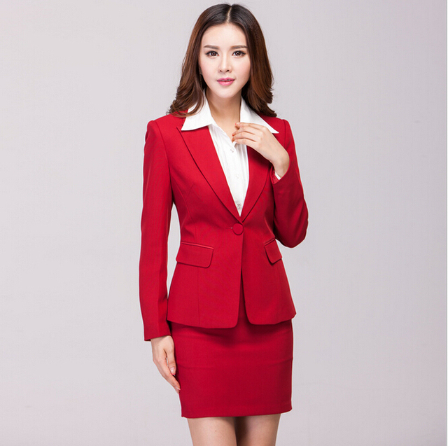 New 2015 Femininos Work Wear Suits For Business Women Office Professional Skirt Suits Beautician Uniforms Clothing Set Plus Size