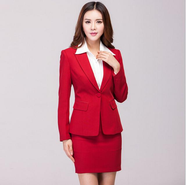 Novo 2015 Femininos desgaste do trabalho ternos para mulheres de negócio escritório ternos de saia profissional uniformes de estética conjunto de roupas Plus Size