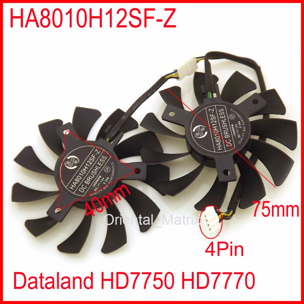 Free Shipping HA8010H12SF-Z 12V 0.34A 75mm 40*40*40mm 4Wire 4Pin Fan For Dataland HD7750 HD7770 Graphics Card Cooling Fan free shipping 128015 sh2 12v 0 40a 75mm 47x47x47mm for sparkle gtx460 culb 3d hd7750 graphics card cooling fan 4pin 4wire