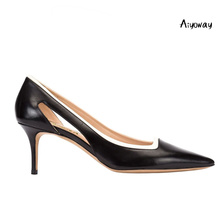Aiyoway Women Shoes Ladies Pointed Toe High Heel Pumps Cut out & Patchwork Style Autumn Work Career Slip On Black Heels