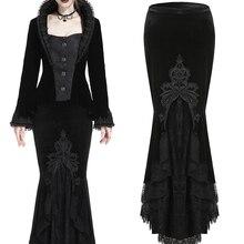 Darkinlove Женская стимпанк Ретро кружевная юбка с высокой талией готические женские сексуальные юбки для вечеринок