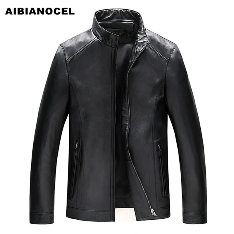 AIBIANOCEL Brand New Casual Luxury Style Men Leather Jacket 100% Sheepskin Stand Collar Genuine Leather Jacket Male Clothing 606