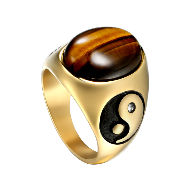 brixini.com - Polished Tiger's Eye Stone Stainless Steel Ring