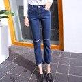 Nova Ripped Buracos Calças de Brim Das Mulheres Denim Calças de Cintura Alta Calça Casual Perna Reta Destruídas Rasgadas Boyfriend Jeans para As Mulheres