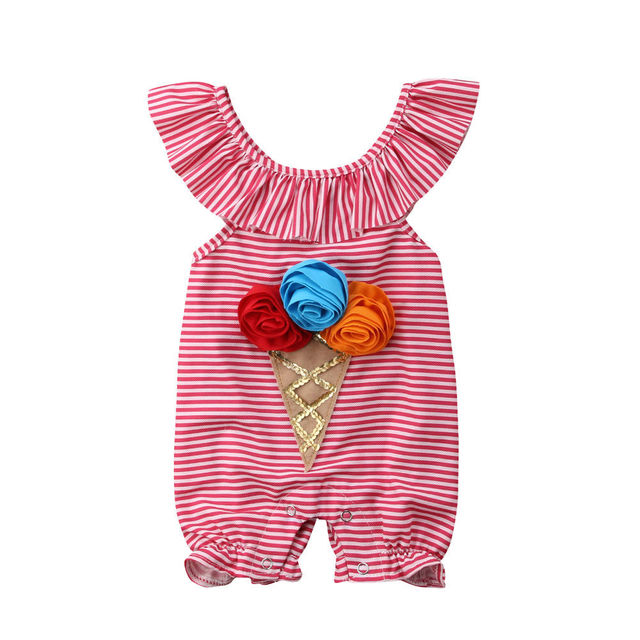 9646475446e0 0-4T Cute Newborn Toddler Baby Girl Clothes ice cream Flower Romper Striped  Jumpsuit Summer Sweet Outfit Infant costume