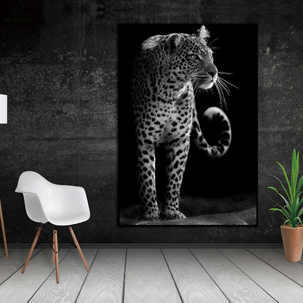 Modern Unique Black And  White Animal Closeup Leopard Portrait Wall Art Canvas Print Painting Poster Wall Picture Home Decor