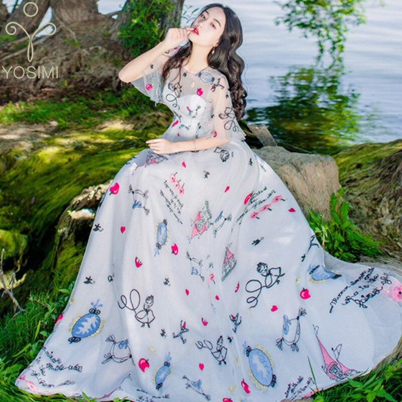 YOSIMI 2017 лето органза Макси длинный женщин платье o-образным вырезом половины рукав платья в стиле бохо Пляжная длинная туника платье