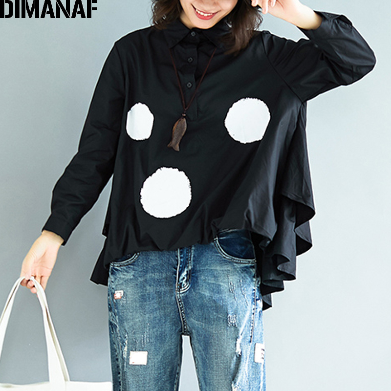 DIMANAF Women   Blouse     Shirts   Plus Size Basic Tops Print Polka Dot Black Long Sleeve Female Office Lady Thin Loose Clothing Autumn