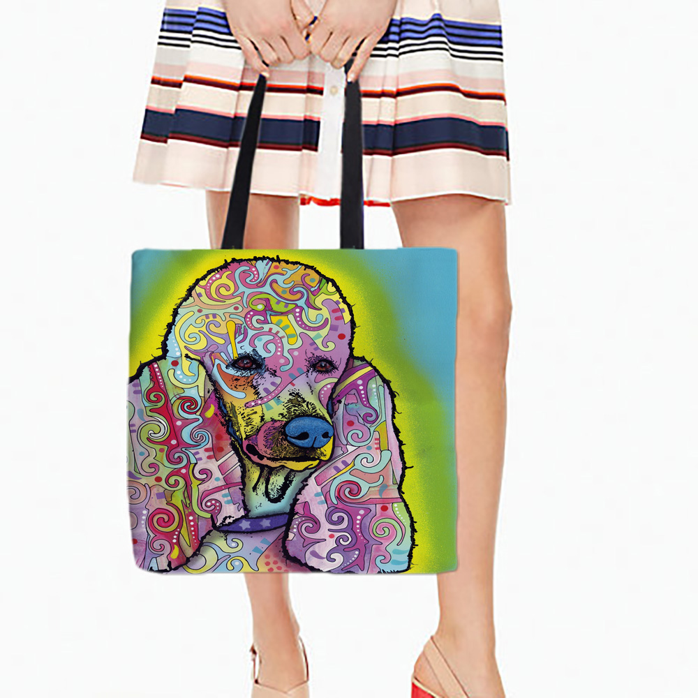 화이트 캔버스 토트 백 다채로운 푸들 개 초상화 인쇄 오픈 포켓 가방 귀여운 강아지 양면 인쇄 45 * 45 센치 메터