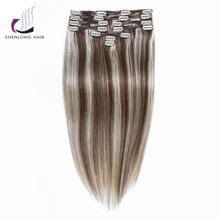 SHENLONG HAIR 100% Remy Straight Human Peruvian Hair Weaving  #P6/613 9pcs/set Mixed color Clip In Hair Extensions Cheveux