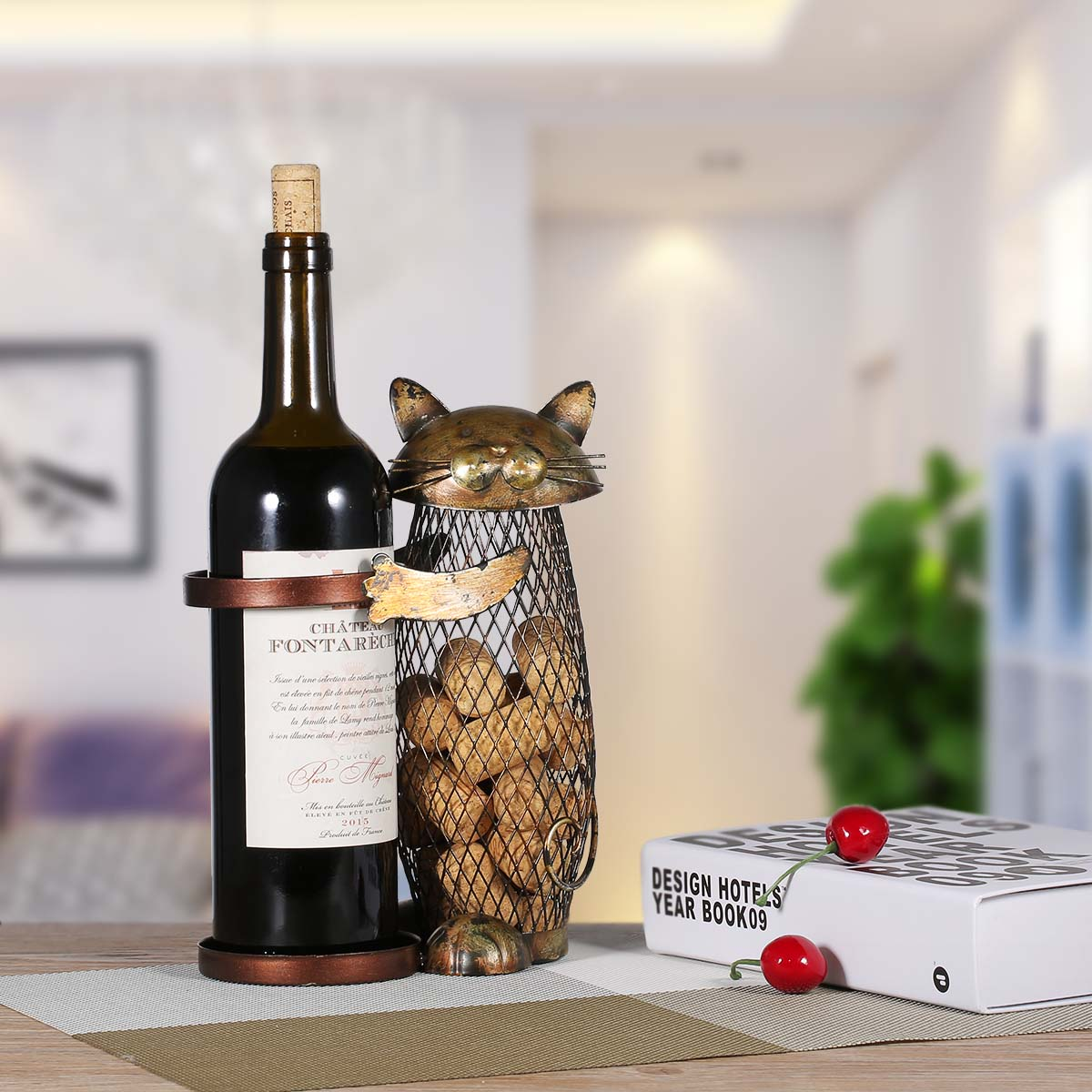 Tooarts Cat Wine Rack Cork Container Bottle Wine Holder Kitchen Bar Metal Wine Craft Christmas Gift Handcraft Animal Wine Stand 19