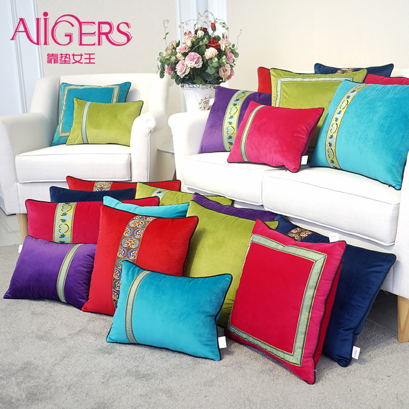 Avigers Luxury Velvet Cushion Cover Patchwork Embroidery Pillow Cover Modern Solid Pillow Case Home Decorative Sofa Throw Pillow