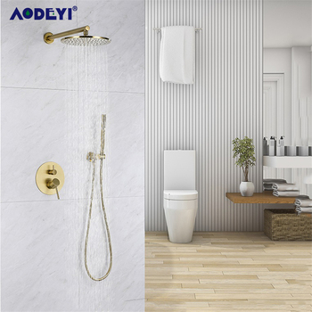 Brass Brushed Gold Solid Bathroom Shower Set Rianfall Shower Head Shower Faucet Wall Mounted Shower Arm Mixer Water Set 8-12Inch kemaidi bathroom shower head gooseneck square brass wall mount shower arm ultrathin bathroom shower head set