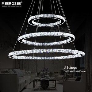 Image 2 - LED كريستال الثريا ضوء الحديثة LED دائرة مصباح نجف معلقة Lustres LED حلقة الإضاءة ديكور المنزل