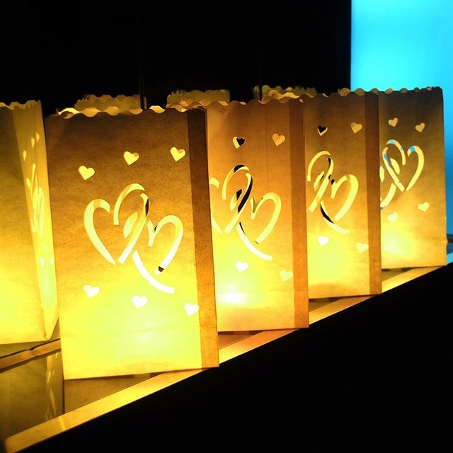 20pcs Lot Double Love Hearts Paper Luminary Bag Tea Light Votive Candle Holder Beach Wedding