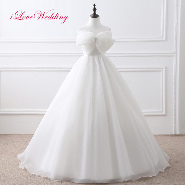 Real Photo Ball Gown Wedding Dresses Off the Shoulder Sweetheart Bow Front Women Big Bridal Gowns Bandage Vestidos 22408