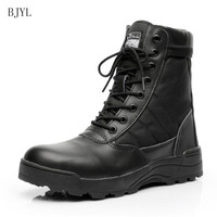 BJYL 2019 Winter new fashion round head lace up high state boots side zipper tactical boots desert boots outdoor men boots B99