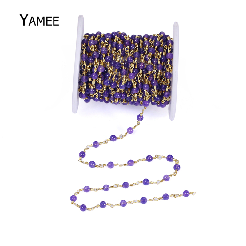 5M Color Jades Crystal Bead Wire Wrapped Beaded Chain Purple Crystal Glass Copper Chain Necklace Bracelet Marking Rosary Chain color block layered beaded bracelet