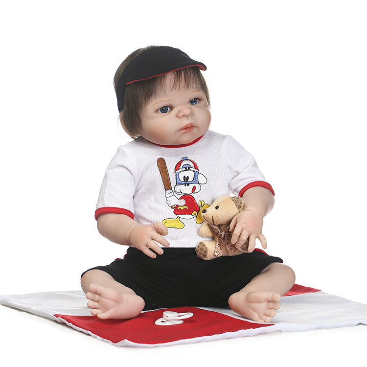 55cm Full Silicone Body Reborn Baby Doll Toys 22inch  Newborn Boy Babies Toddler Dolls Birthday Gift Bathe Toy Girls Bonecas платье tutto bene tutto bene tu009ewtyi37