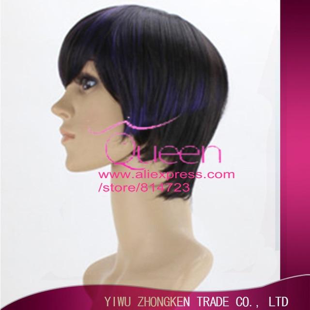 Low Price 30cm Short Straight Black Purple Highlights Women Lady