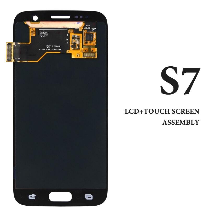 Grado A CRISTALLI LIQUIDI Per Samsung S7 LCD Dispaly Super AMOLED Con L'assemblea di Schermo di Tocco Per Samsung G930 G930F G935A G930V LCD schermo