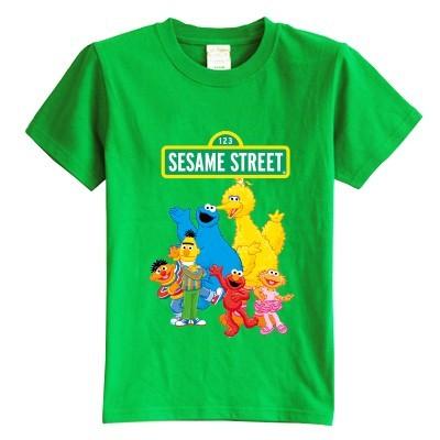 Niños Sesame Street de La historieta camiseta del verano de manga corta 100% algodón de la muchacha del cabrito camiseta